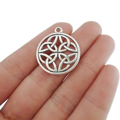 10 x Antique Silver Celtic Knot Charms Pendants Double Sided for Jewelry Making