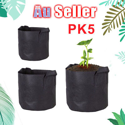 5pcs Non-woven Tree Planting Bags Container Garden Breathable Pouch Fabric Pots