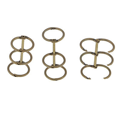 3 Pieces Bronze Loose Leaf Binder Rings for Student Album Cards Making Craft