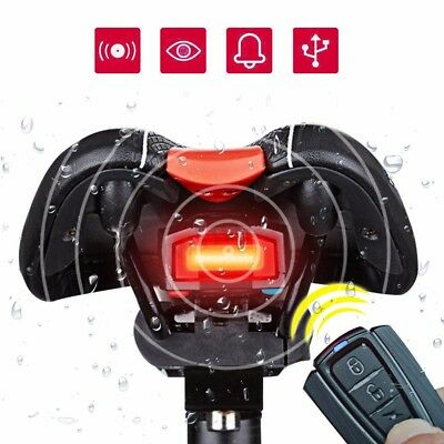 Waterproof Bicycle Security Lock Alarm LED Tail Light Anti-theft Remote Control