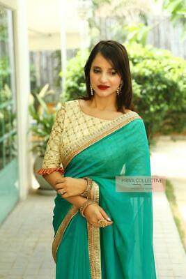 Indian Designer Embroidered Bollywood Style Sari Party Wear Saree UnStitch Blous