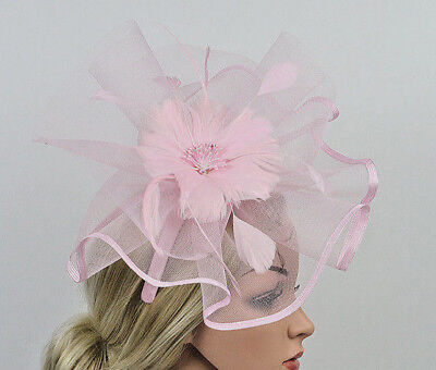 Stunning Pink Crinoline And Feather Fascinator On Pink Headband, Spring Races
