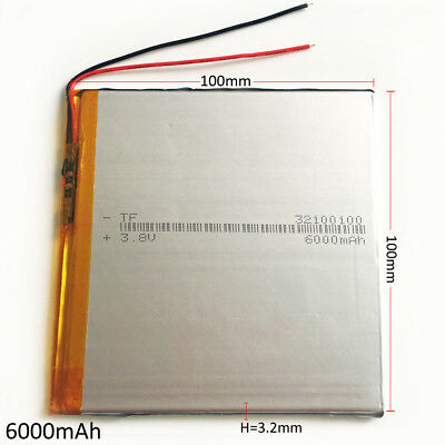 6000mAh 3.7V Li po Rechargeable Battery 32100100 For PAD Laptop MID Power Bank