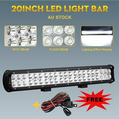 23INCH CREE LED Light Bar Triple Row Combo Beam Work Driving Offroad 4WD+ Wire