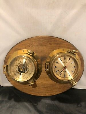 Vintage Ship's Time Brass Porthole Quarts Nautical Clock And Barometer - Antique