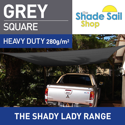 Square GREY 2m X 2m Shade Sail Sun Heavy Duty 280GSM GREY 2X2 Strong Corners