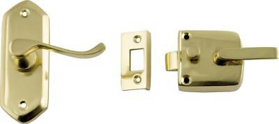 wooden screen door latch/lock,polished brass,left or right hand,