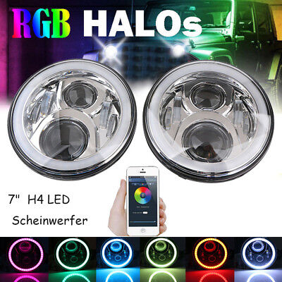 "2x 7""  H4 LED Front Scheinwerfer RGB Angel Eyes Bluetooth für Jeep Wrangler"