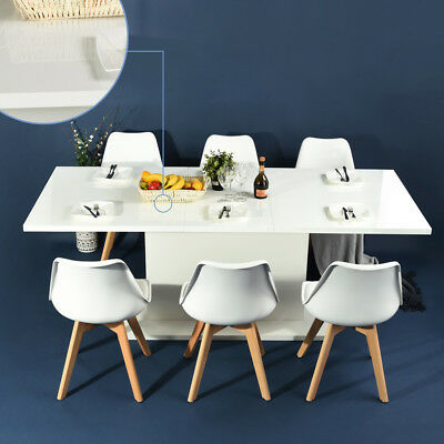 Extending 6-8 Seaters Adjustable Length Dining Meeting Table White Top Kitchen