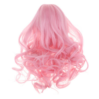 "Fashion Curly Hair 28-30cm 11-12inch for 18"" American Girl Doll Pink Wig"