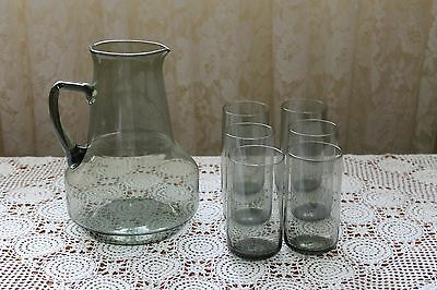 Retro Crystal Smoked Glass Water Jug And 6 Matching Glasses