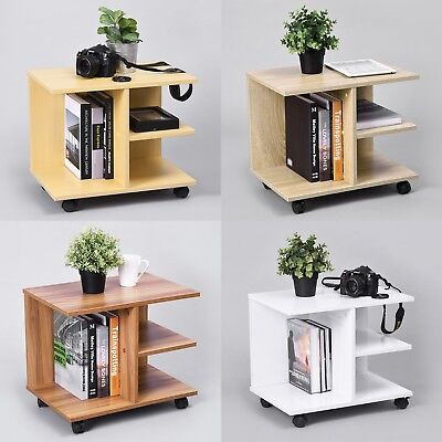 Cabinet Files Rolling Casters Bedside End Table Bedroom Wooden Night Stand