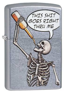 Zippo 29613, Skeleton Drinking, Street Chrome Finish Lighter, Full Size