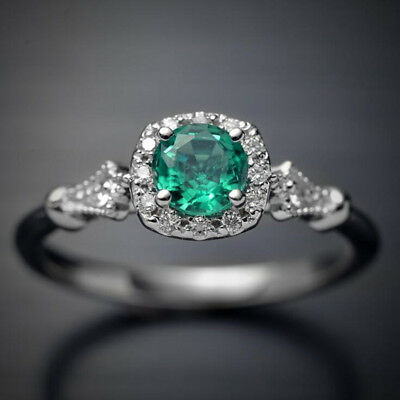 Retro Women Round Green Crystal Rings Fashion Rings Elegant Jewelry B