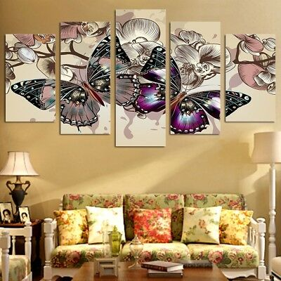 Colorful Butterfly Orchid Flower 5 Panel Canvas Print Wall Art