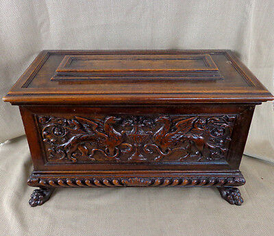 Antique Chest Blanket Box Italian Renaissance Carved Walnut 18th Century Cassone