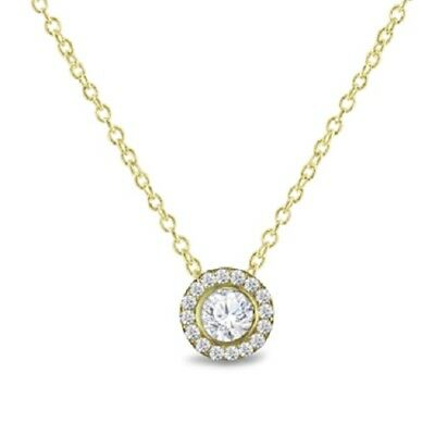 "Round D/VVS1 Halo Pendant Necklace 18"" 14k Yellow Gold Over 925 Sterling Silver"