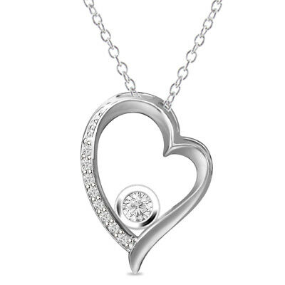 "Round D/VVS1 Heart Pendant Necklace 18"" 14k White Gold Over 925 Sterling Silver"