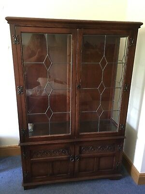 Old Charm,carved Oak,leaded Glass Display Cabinet By Wood Bros