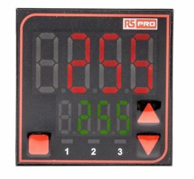 RS Pro Panel Mount PID Temperature Controller, 48 x 48mm, 3 Output Relay, SSR, 1