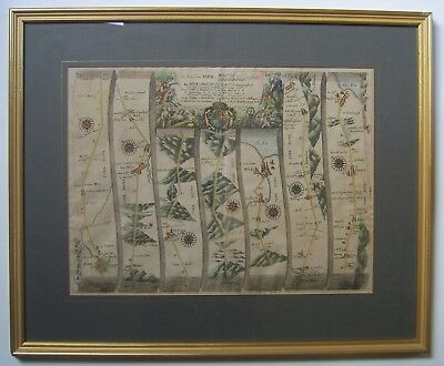 York-Scarborough and Whitby: antique road map by John Ogilby, c1675