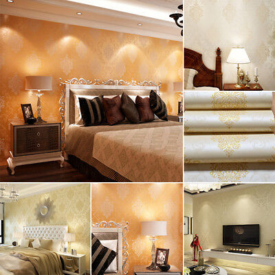 Luxury Non-woven 10m Embossed Damask Wall paper Roll Flocked Metallic Wall Paper