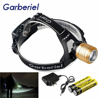 20000LM Zoomable T6 Rechargeable 18650 Tactical LED Headlamp Headlight Outdoor