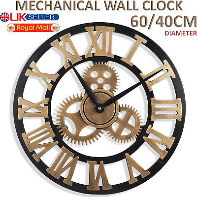 Skeleton Garden Wall Clock Big Roman Numerals Large Open Face Metal 40Cm / 60Cm