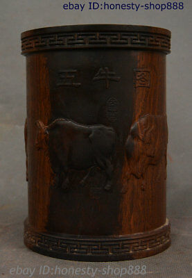 """6"""" China Huang Huali Wood Carved Five Ox Bull Oxen Totems Brush Pot Pencil Vase"""