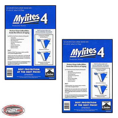 100 - E. GERBER MYLITES 4 GOLDEN AGE 4-Mil Mylar Comic Bags Sleeves 800M4