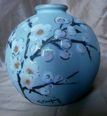 "Superbe Vase En Limoge ""camille Tharaud "" Emaille Relief- Decor Main-Fab.france"