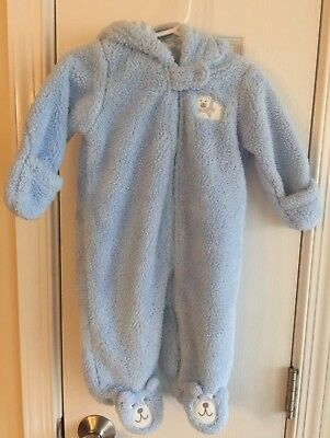 69c306fd9 Carter's Baby Boys Blue Fleece Snowsuit With Bear Attached Mittens 6 Mo