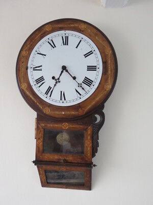 Large Antique Tunbridge Ware Inlaid Welch Drop Dial Clock For Restoration