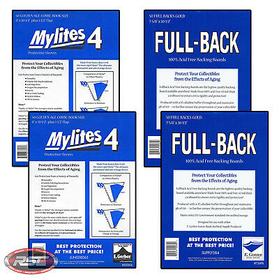 100 - E. GERBER FULL-BACK & MYLITES 4 GOLDEN AGE Mylar Bags & Boards 758FB/800M4