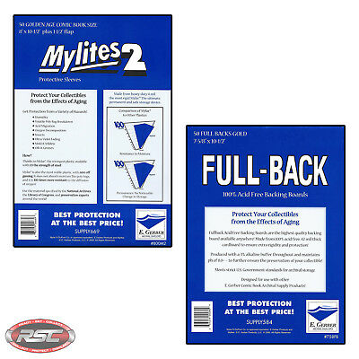 50 - E. GERBER FULL-BACK & MYLITES 2 GOLDEN AGE Mylar Bags & Boards 758FB/800M2