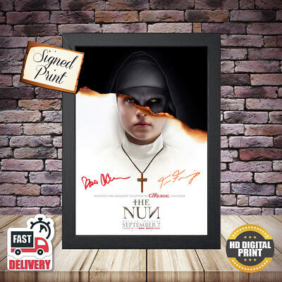 The Nun (3) Horror Signed Autographed Movie Poster 2018 Framed Print