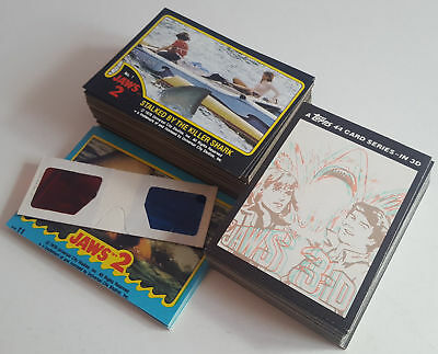 1978 & 1983 JAWS 2 & JAWS 3-D Topps Trading Cards, Complete Sets With Glasses.