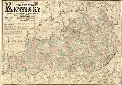 """16"""" x 24"""" 1862 Map Of United States Of Kentucky Railroad Network"""