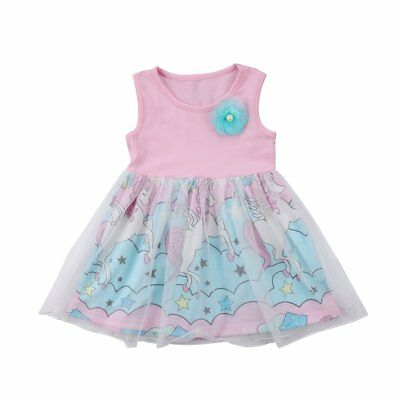S-090 Toddler Girl Sleeveless Pink and Blue Tulle Unicorn Dress (Free Shipping)