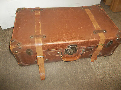 Antique Leather Suitcase With Straps