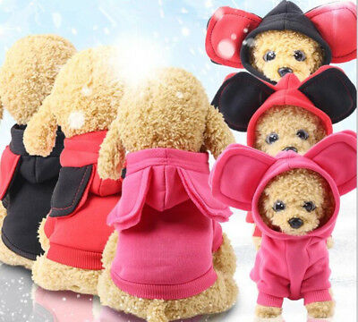 Small Pet Dog Cat Puppy Sweater Hoodie Coat Jacket Warm Costume Apparel