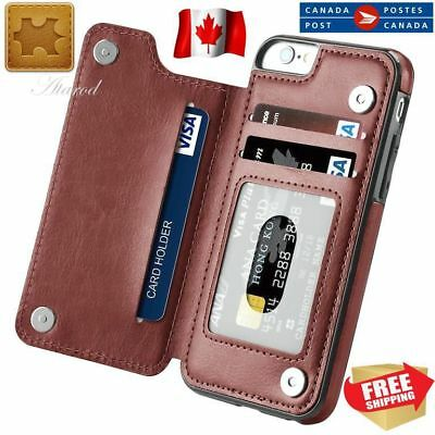 Leather PU Wallet Credit Card Slot Stand Back Cover Case for iPhone 6 7 8 Plus X