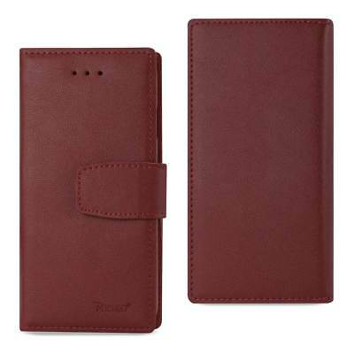 Reiko iPhone X Genuine Leather Wallet Case With Rfid Card Protection In Bungundy
