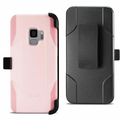 Reiko Samsung Galaxy S9 3-In-1 Hybrid Heavy Duty Holster Combo Case Light Pink