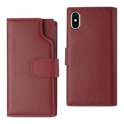 Reiko iPhone X Genuine Leather Wallet Case With Open Thumb Cut In Burgundy