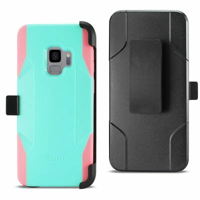 Reiko Samsung Galaxy S9 3-In-1 Hybrid Heavy Duty Holster Combo Case Mint Green