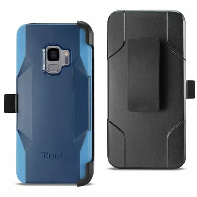Reiko Samsung Galaxy S9 3-In-1 Hybrid Heavy Duty Holster Combo Case In Navy
