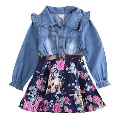 S-204B Toddler Girl's Denim and Blue Floral Dress w/Belt 3T-6T (Free Shipping)