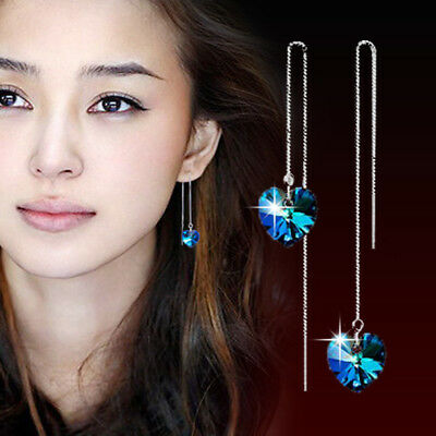 925 Sterling Silver Blue Heart Tassel Earrings For Women Fashion Jewelry