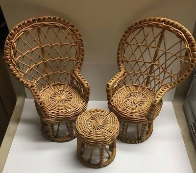 Vintage Wicker Rattan Doll Barbie Bear Furniture Chairs Table Wicker Chairs